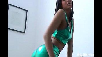 Watch me rub my pussy in shiny green PVC panties