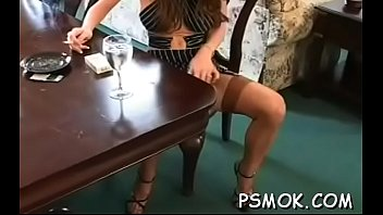 Mature slut blows a chap while smokin'_ a cigarette