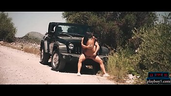 Outdoor public sex with a hot brunette on the road trip