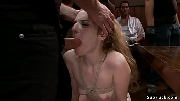 Brunette deep throat banged in public