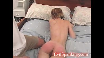 Spank chick - Sexy chick hand spanked on her bed