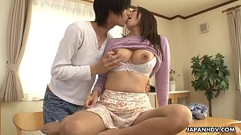 Japanese cougar, Mirei Yokoyama gives a balls deep blowjob, uncensored