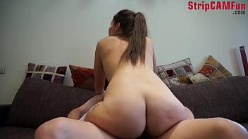 Amateur Girl Slips On White Stockings and Fucks and Sucks Guy On Home Cam