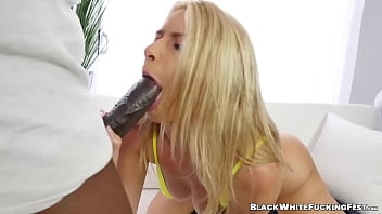 Enchanting babe takes BBC in her mouth and her pussy