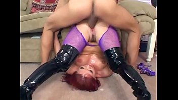Knee high boots sex videos Sex in black boots and purple fishnet pantyhose