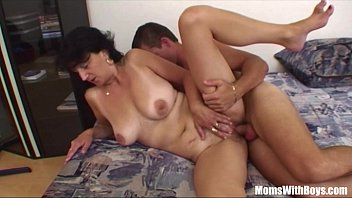 Boy having sex with his mother - Son gets ridden by horny brunette stepmom