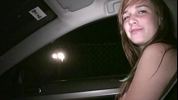 Young hot teen girl Alexis Crystal undressing in a car on the way to public orgy