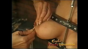 Big tits girl is a perfect subject for some painful female domination