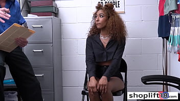 Curly black teen fucked from the back by a LP officer