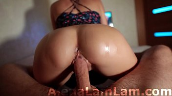 MILF Oil Big Ass Cowgirl on Dick her Neighbor and Cum on Pussy POV صورة