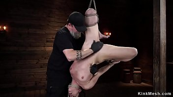 Tied babe choked with heavy metal ball