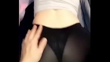 Big ass in see thru leggings