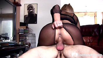 Faces in pantyhose - Hot stepmom in pantyhose rides a pulsating schlong