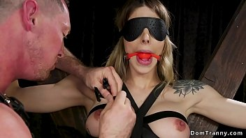 Gagged blindfolded shemale tormented