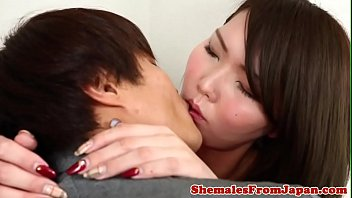 Japanese ladyboy anally banged after a bj