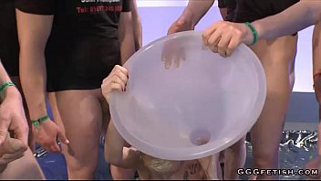 Feeding cum through a funnel Girl gets pee through a large funnel