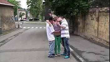 Street sex with a cute teen girl Alexis Crystal and 2 young guys in public orgy
