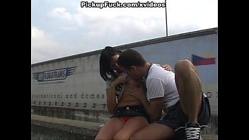 brunette shows tits and sucks on the freeway
