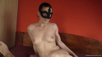 Naughty masked amateur sucks then fucks her boyfriend