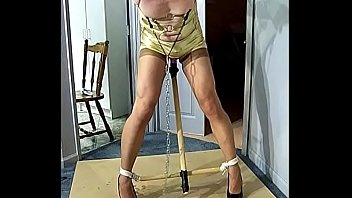 Sissy humiliation transvestite - Strappado tied tranny with dildo in her ass