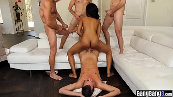 Ebony hairy pussy got smashed in a group interracial sex