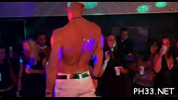 Drunk cheeks engulfing schlong in club