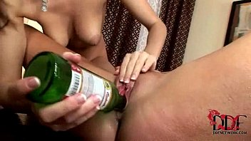 Eufrat and Jana use beer bottles to pleasure each other