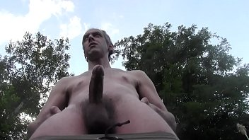 Gay nude outside - Hot nude dilf cum explosion outdoor in public garden, euro homemade amateur solo