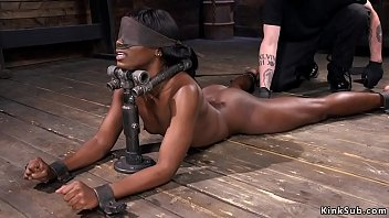 Ebony in device bondage fucked