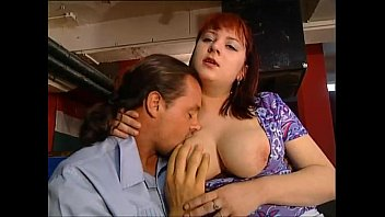Busty and sexy bartender fucked by a band