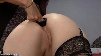 Hot lesbian anal fucks MILF in bedroom