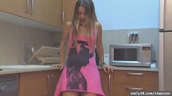 Emily18 - Teen in sneakers in kitchen