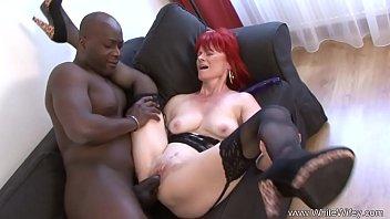 Redhead Granny Goes Full Interracial