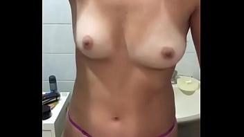 Bouncing boobs - hot girl brushing teeth
