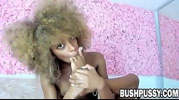 Skinny Ebony babe with hairy pussy and small tits