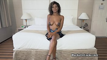 Busty black beauty Lola oiled to suck dick