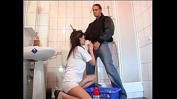 Maid fucked in toilet by a rough security guard
