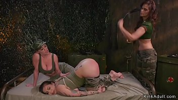 Slave soldier anal fisted in lezdom