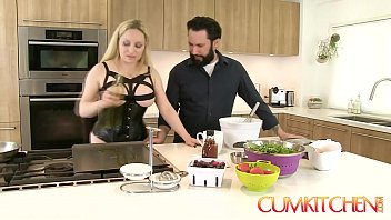 CUM KITCHEN: Busty Blonde Aiden Starr Fucks while Cooking in the Kitchen