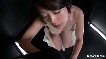 Asian slut gives a sexy POV blowjob