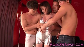 Bigtitted asian mom takes on three dicks