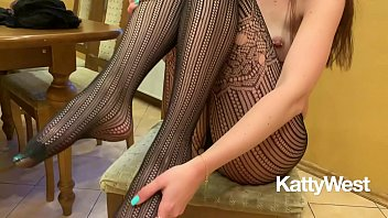 Small feet in pantyhose - Baby katty west masturbates in a pantyhose - foot fetish