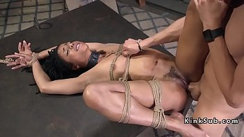 Tied up ebony babe anal fucked in warehouse