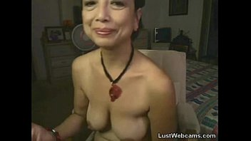 Asian granny masturbates on webcam