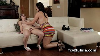 Nubile Lia Ezra pussy teased and banged in 3some