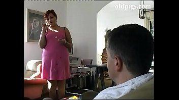 Fantasies of a pig bottom - Mature cleaning lady take care of a young cock