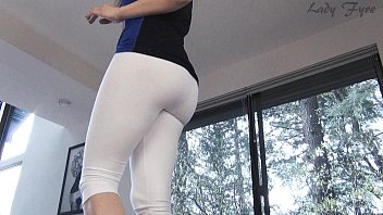 Sexy yoga workout - White yoga pants ass worship leg tease lady fyre