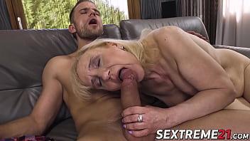 Nympho granny seduces young stud and eats his warm cum
