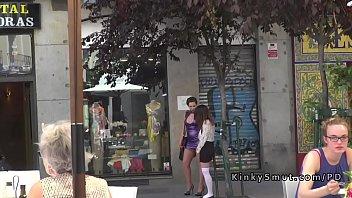 Busty walked in public in lezdom shame