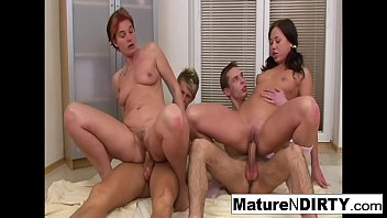 Horny mature slut gets DP'd in a foursome